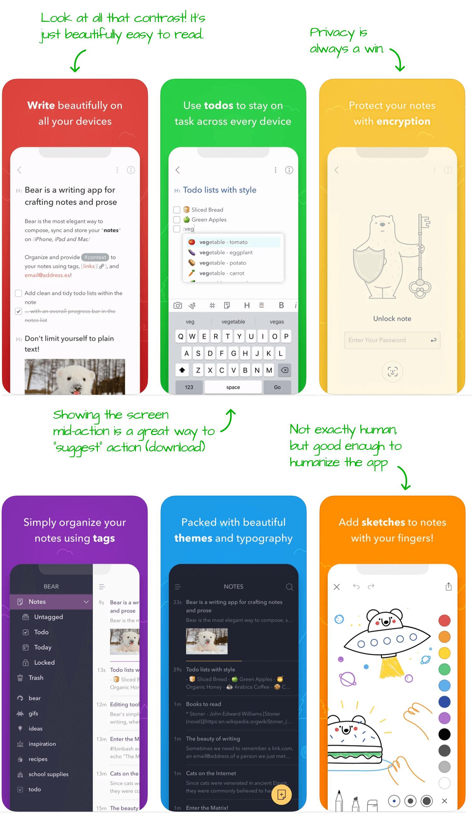 Bear for iOS Screenshot Analysis by Appfigures