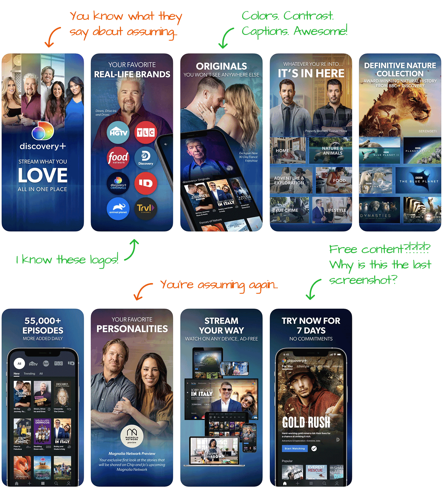 Discovery+ for iOS Screenshot Analysis by Appfigures