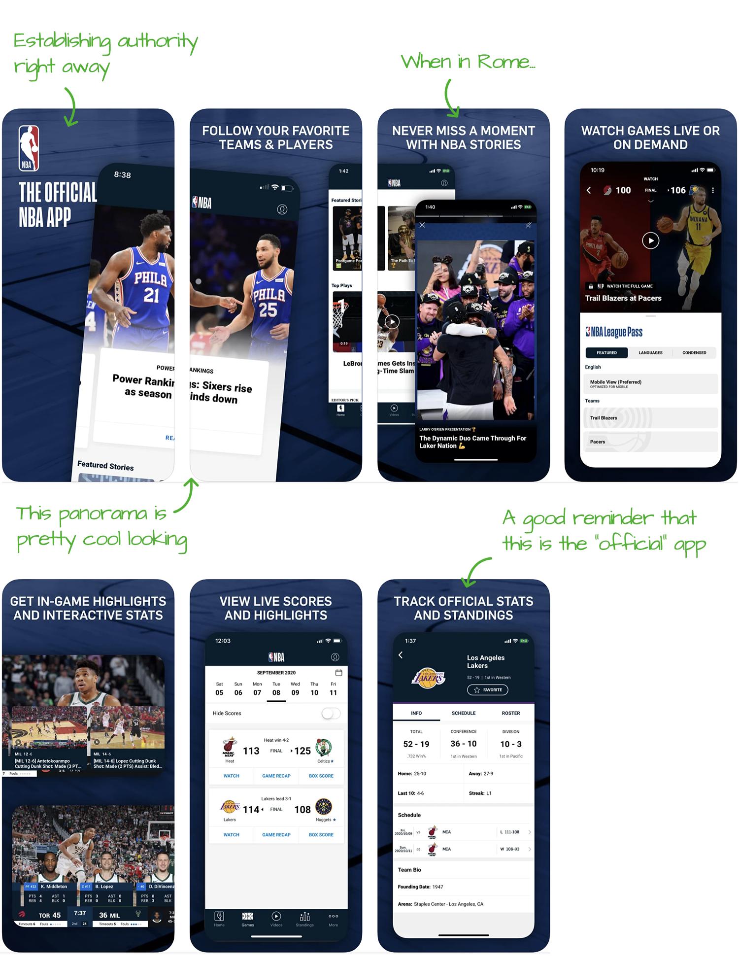 NBA for iOS Screenshot Analysis by Appfigures